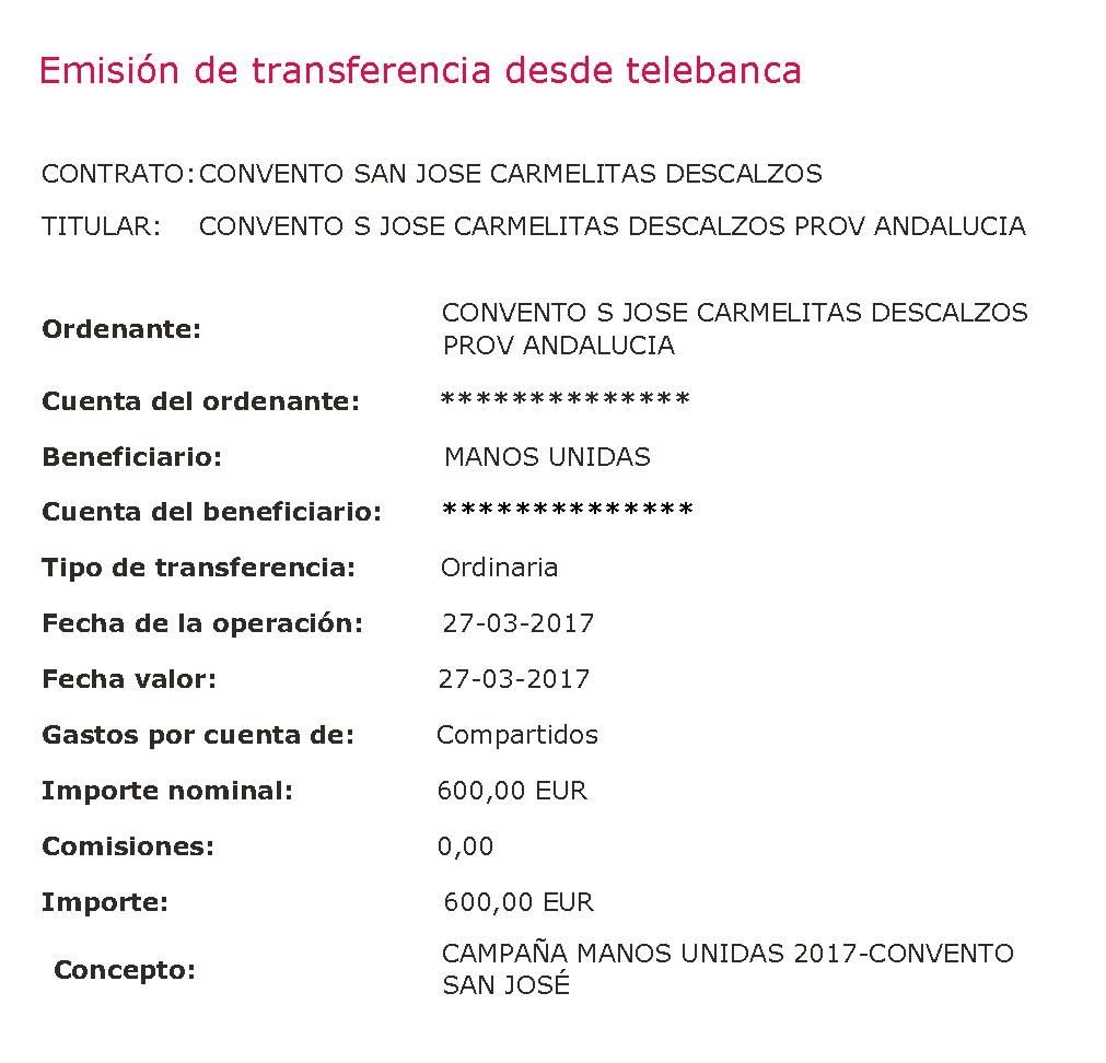 CAMPANA MANOS UNIDAS 2017 CONVENTO 1